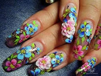 Цветочные мотивы в аквадизайне ногтей