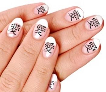 Как нарисовать иероглифы на ногтях