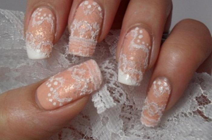 Дизайн ногтей натуральными кружевами