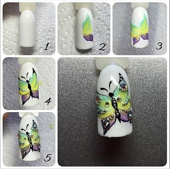 Процесс рисования бабочки на ногтях