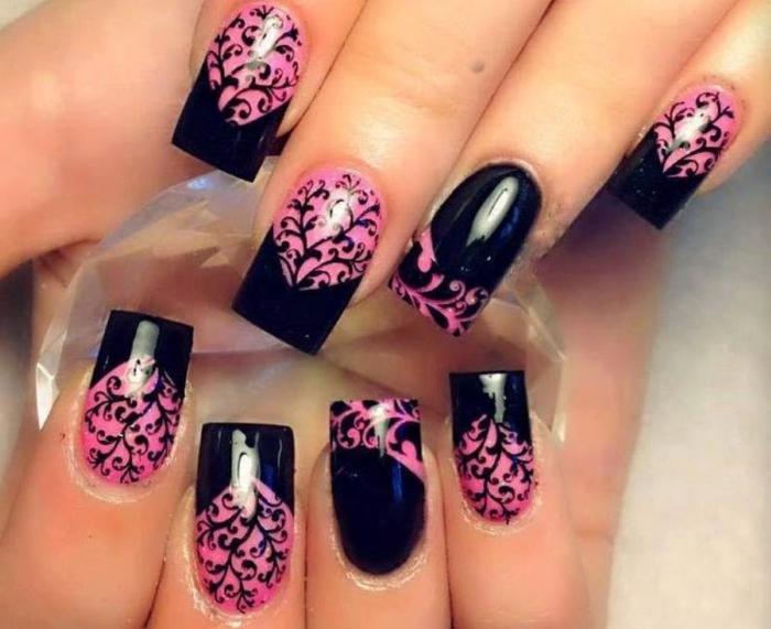 Чёрно-розовый маникюр