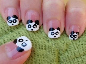 Детский дизайн ногтей с пандами