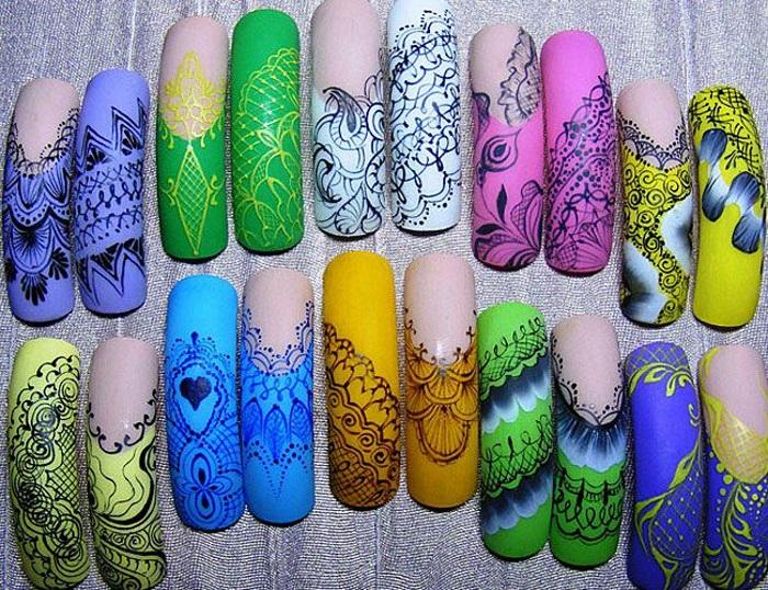 Варианты цветовых сочетаний в кружевном дизайне ногтей