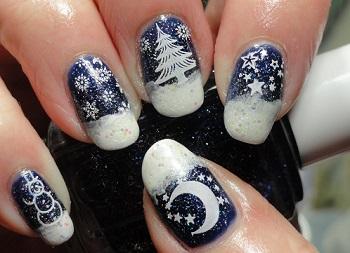 Рисунки на ногтях новогодней тематики