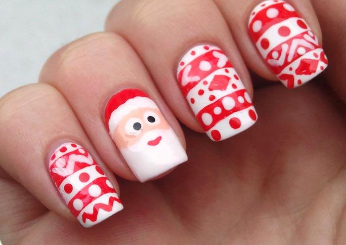 Пример изображения Деда Мороза в новогоднем маникюре