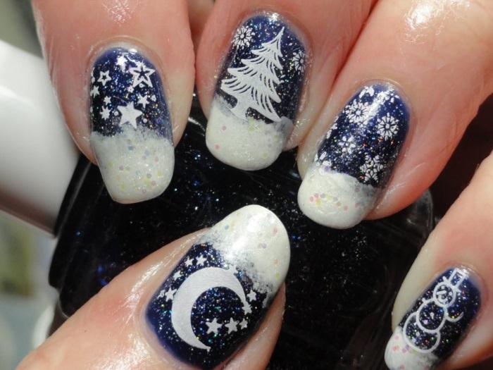 Креативный френч на наращенных ногтях в тематике новогодней ночи