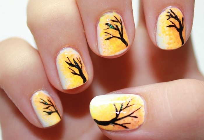 Осенние узоры на ногтях