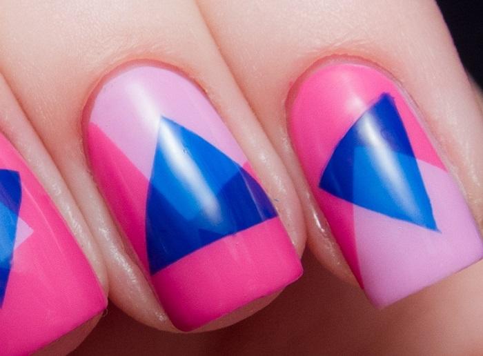 Геометрический узор на ногтях