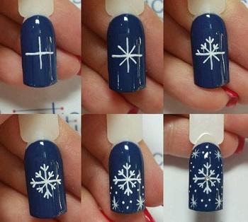 Снежинка на ногтях гелевой ручкой пошагово