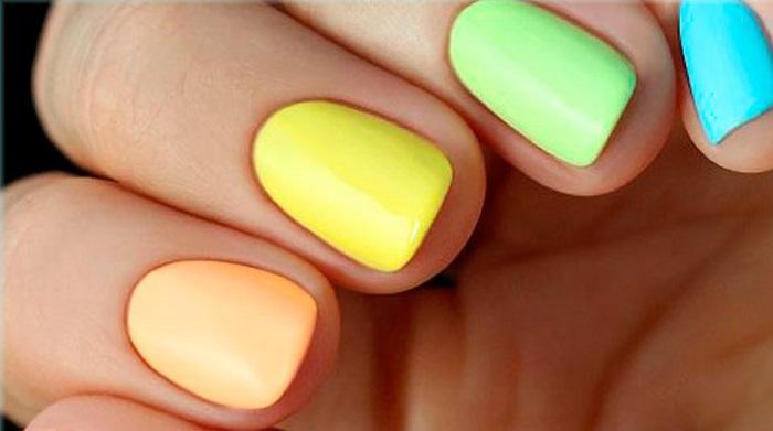 Дизайн ногтей разными лаками