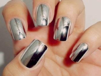 Зеркальные наращенные ногти